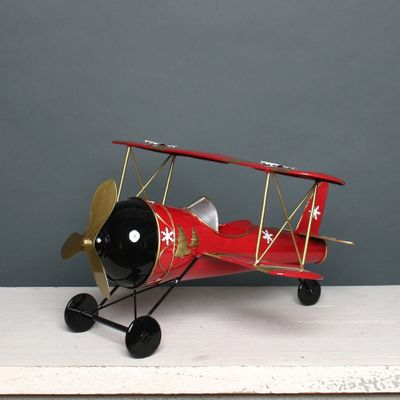 Christmas Biplane Red & Gold