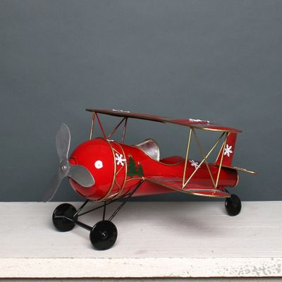 Christmas Biplane Red & Silver
