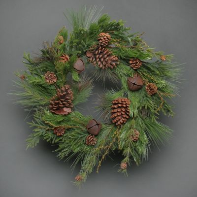 Pine leaves cone and bell Wreath 70cm