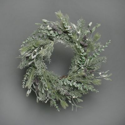 Pine and misletoe frosted wreath