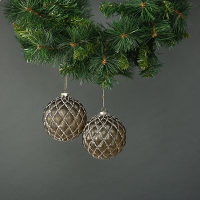 Asteria 10cm Glass Quilted Bauble (S/4)