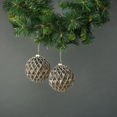 Asteria 10cm Glass Diamond Bauble (S/4)