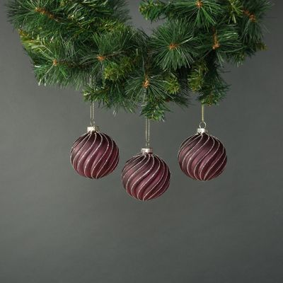 Faye 8cm Glass Bauble Dark Purple (S/4)