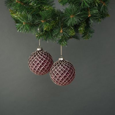 Faye 10cm Glass Bauble Dark Purple (S/4)
