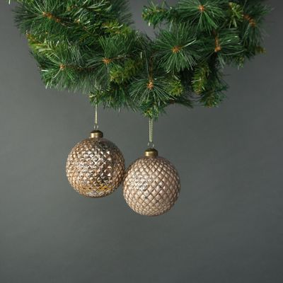 Lorelle 10cm Glass Diamond Bauble Copper Gold (S/4)