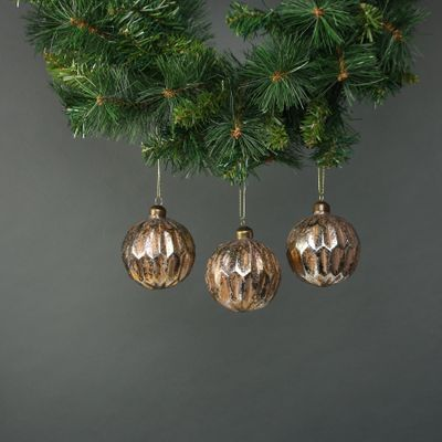 Lorelle 8cm Glass Bauble Gold (S/4)