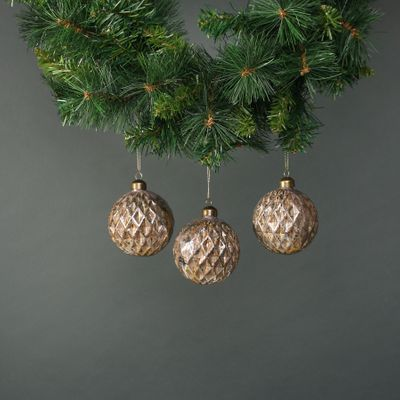 Lorelle 8cm Glass Bauble Brushed Gold (S/4)