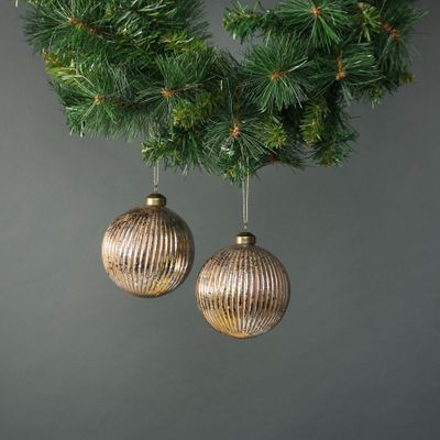 Lorelle 10cm Glass Bauble Copper Gold (S/4)