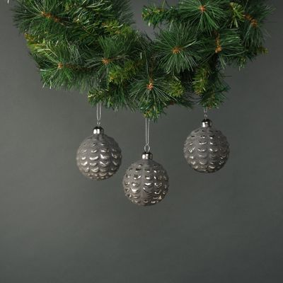 Naida 8cm Glass Acorn Bauble Pewter & Silver (S/4)