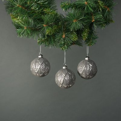 Naida 8cm Glass Leaf Bauble Pewter & Silver (S/4)