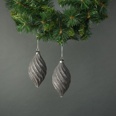 Naida Glass Swirl Drop Bauble Pewter & Silver (S/4)