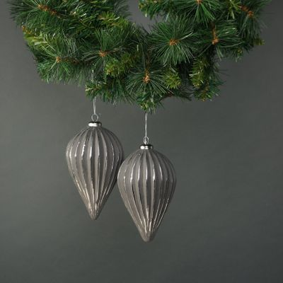 Naida Glass Large Drop Bauble Pewter & Silver (S/4)