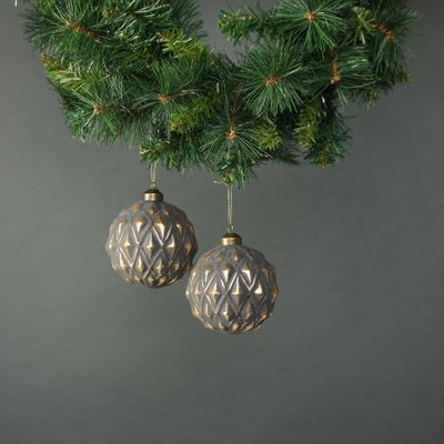 Luna 10cm Glass Bauble Pewter & Gold (S/4)