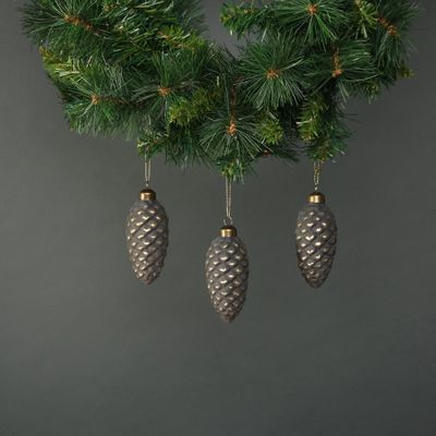 Luna Glass Acorn Bauble Pewter & Gold (S/4)