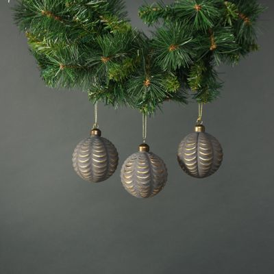 Luna Glass Frill Bauble Pewter & Gold (S/4)