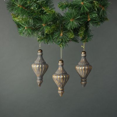 Luna Glass Lamp Bauble Pewter & Gold (S/4)