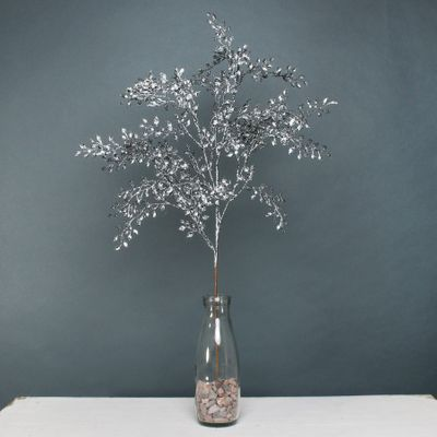 Glitter mini leaf spray pewter