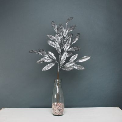 Glitter bay leaf spray Pewter