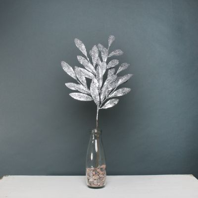 Glitter bay leaf spray Silver