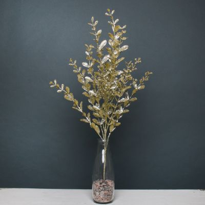 Glitter boxwood spray Gold