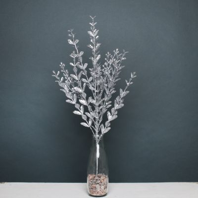 Glitter boxwood spray Silver