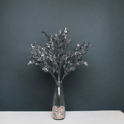 Glitter Holly Bush Pewter
