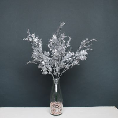 Glitter Holly Bush Silver