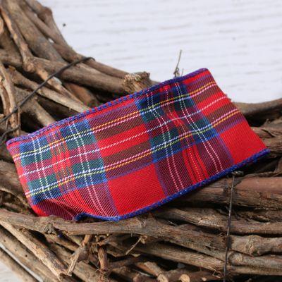 Red stewart style tarten ribbon w/e 63mm x 10yd