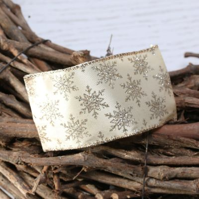 Gold with gold glitter snowflakes w/e 63mm x 10yd
