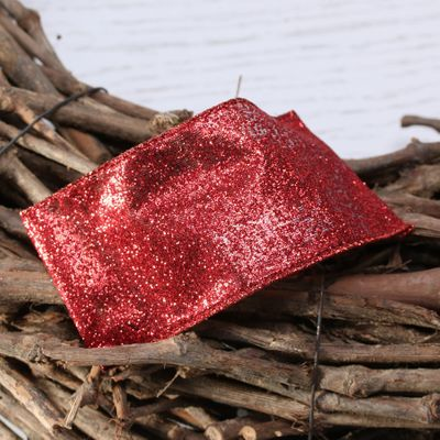 red glitter ribbon w/e 63mm x 10yd