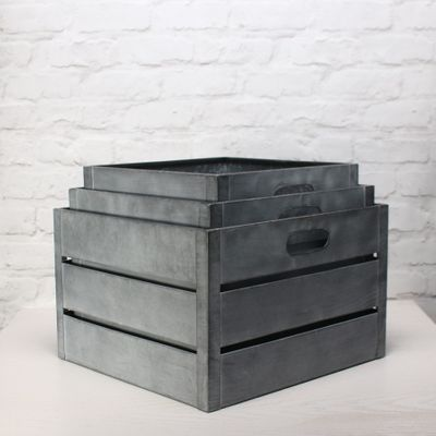 Zinc Antique Grey Whitewash Square Crate Set of 3 - Large