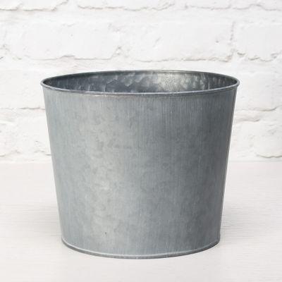 23cm Round Antique Grey Zinc Pot with Whitewash