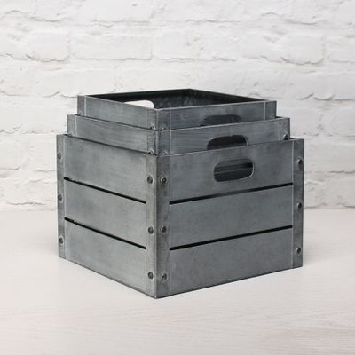 Zinc Antique Grey Whitewash Square Crate Set of 3 - Small