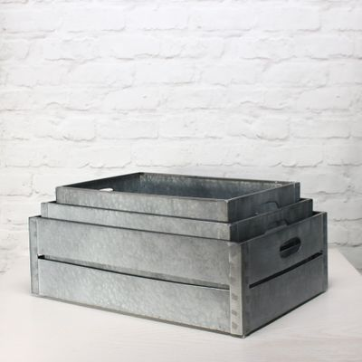Zinc Antique Grey Whitewash Rectangular Crate Set of 3 - Large