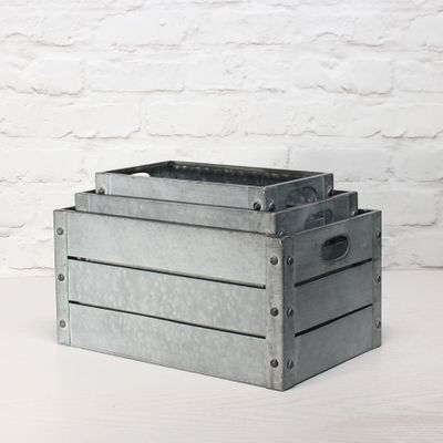 Zinc Antique Grey Whitewash Rectangular Crate Set of 3 - Small