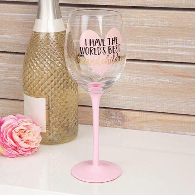 Worlds Best Grandchildren Wine Glass