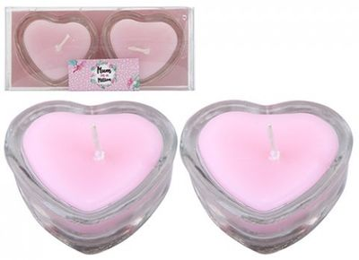 HEART SHAPED CANDLES IN GLASS HOLDERS