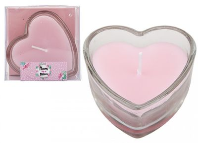 Pink Heart Shaped Candle in Glass Holder