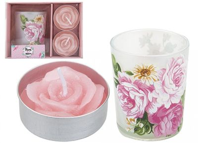 Floral Votive & Pink Rose Candle Set (2 Pcs)