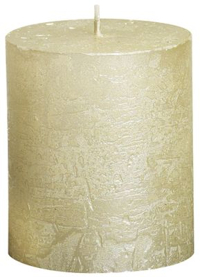 Rustic pillar candle Metallic  Ivory - 80/68 mm