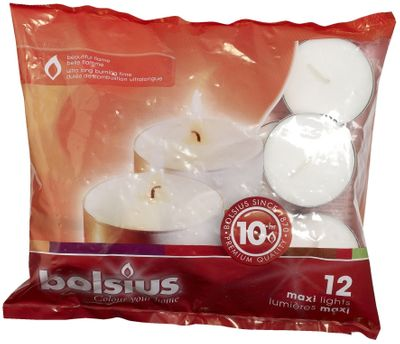 Bolsius Maxi light 10hr bag 12 - White