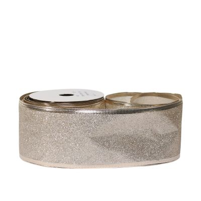 Glitter ribbon 63mm x 10 yards Champagne wire edge