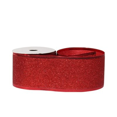 Glitter ribbon 63mm x 10 yards Red wire edge