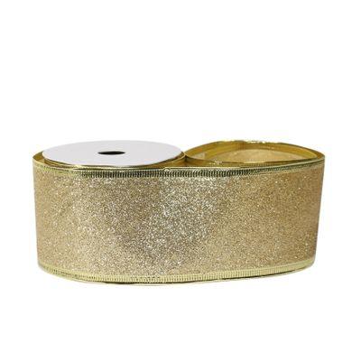 Glitter ribbon 63mm x 10 yards Gold wire edge
