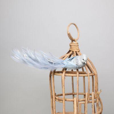 Silver Lyre Bird Silver Glitter w/clip