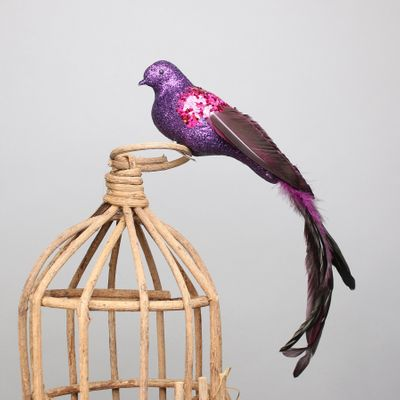 Purple Paradise Bird w/clip