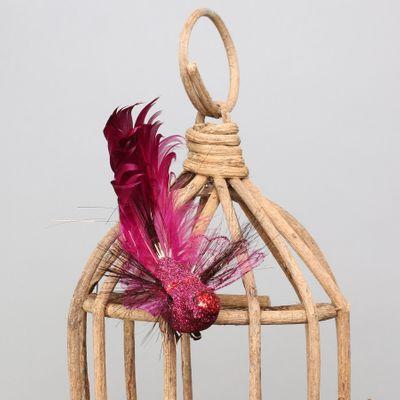 Dark Pink Fantasy Bird w/clip
