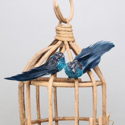 Blue Glitter Bird w/clip