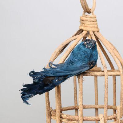 Blue Showfeather Bird w/clip