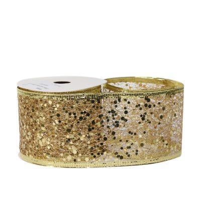 Glitter mesh ribbon 63mm x 10 yards GOLD